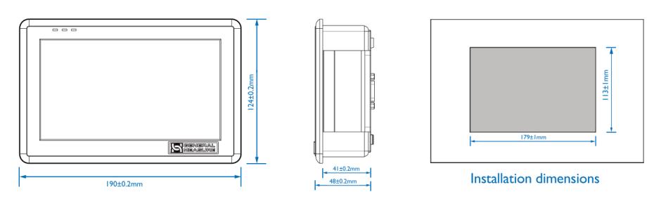 GM9907-L2触屏包装控制器尺寸图